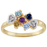 Dazzling Hearts Mothers Ring
