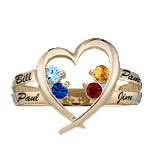 Family Heart Ring Mothers Ring