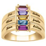 Stackable Baguettes Mothers Ring