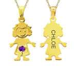 Little Girl With Engraving on Back With Chain Mothers Pendant