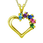 Hanging Marquise Hearts With Chain Mothers Pendant