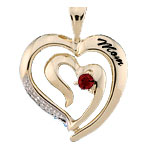 Engravable Double Heart and Diamond Mothers Pendant