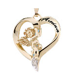 Engravable Angel and Heart with Diamonds Mothers Pendant