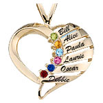 Engravable Contemporary Heart Mothers Pendant