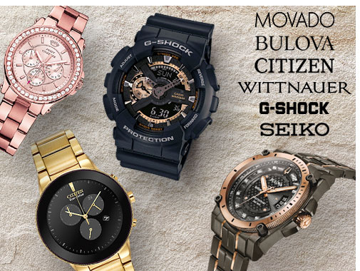 Watches - Men's Watches and Women's Watches with brand names like Movado, Bulova, Citizen, Wittnauer, G-Shock, and Seiko