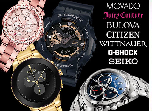 Movado, Juicy Couture, Bulova, Citizen, Wittnauer, G-Shock